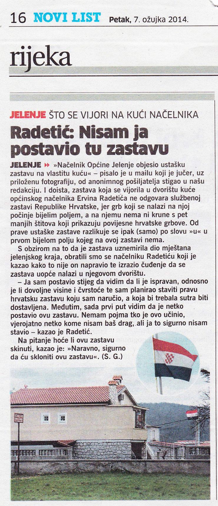 Načelnik Radetić objesio ustašku zastavu