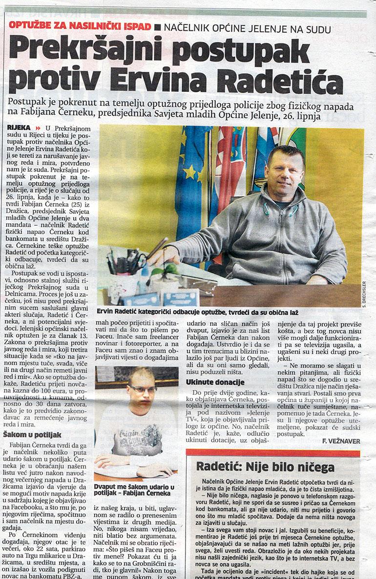Pokrenut prekršajni postupak protiv Ervina Radetića