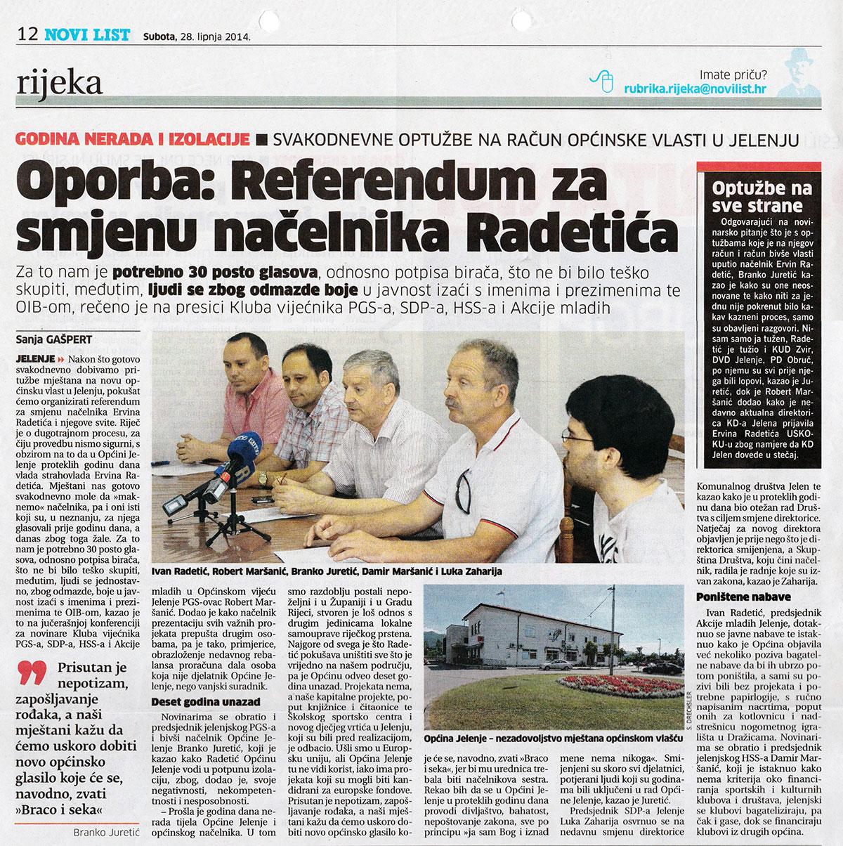 Referendumom protiv nerada i izolacije u Općini Jelenje