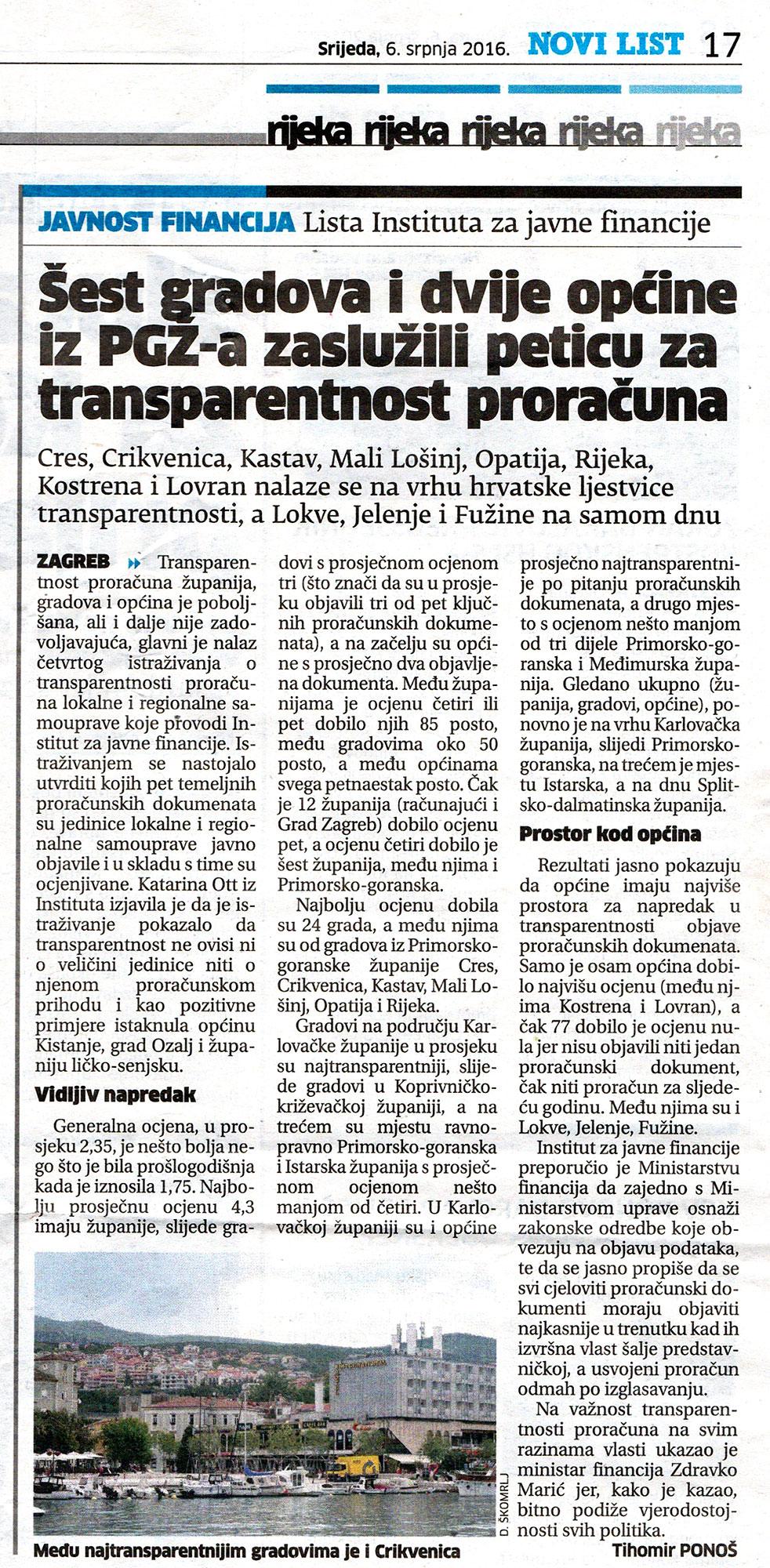 Općina Jelenje najnetransparentnija u Hrvatskoj