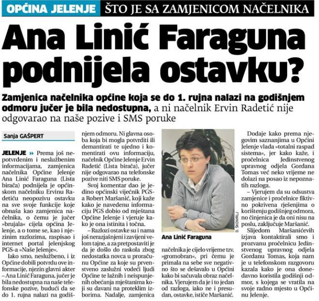 Novi list: Ana Linić Faraguna podnijela ostavku?
