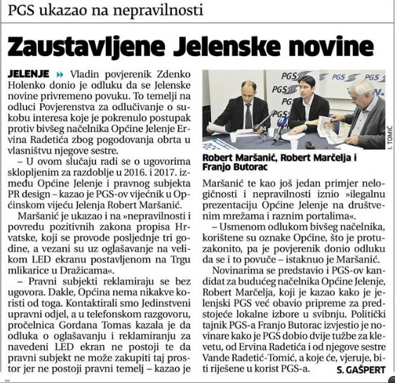 Novi list: PGS ukazao na nepravilnosti - Zaustavljene Jelenske novine