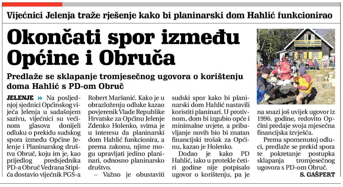 Novi list: Okončati spor između Općine i Obruča