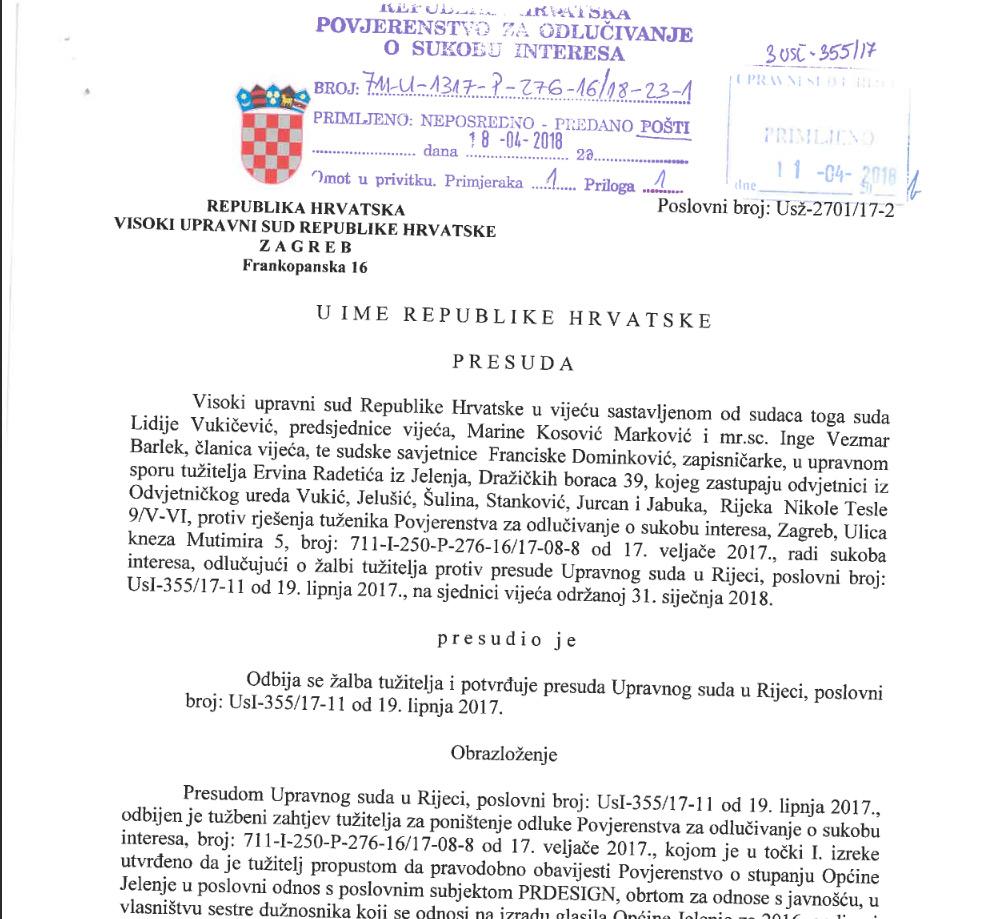 Stigla presuda Visokog upravnog suda: Radetići oštetili proračun za 105 tisuća kuna ugovorenih sredstava