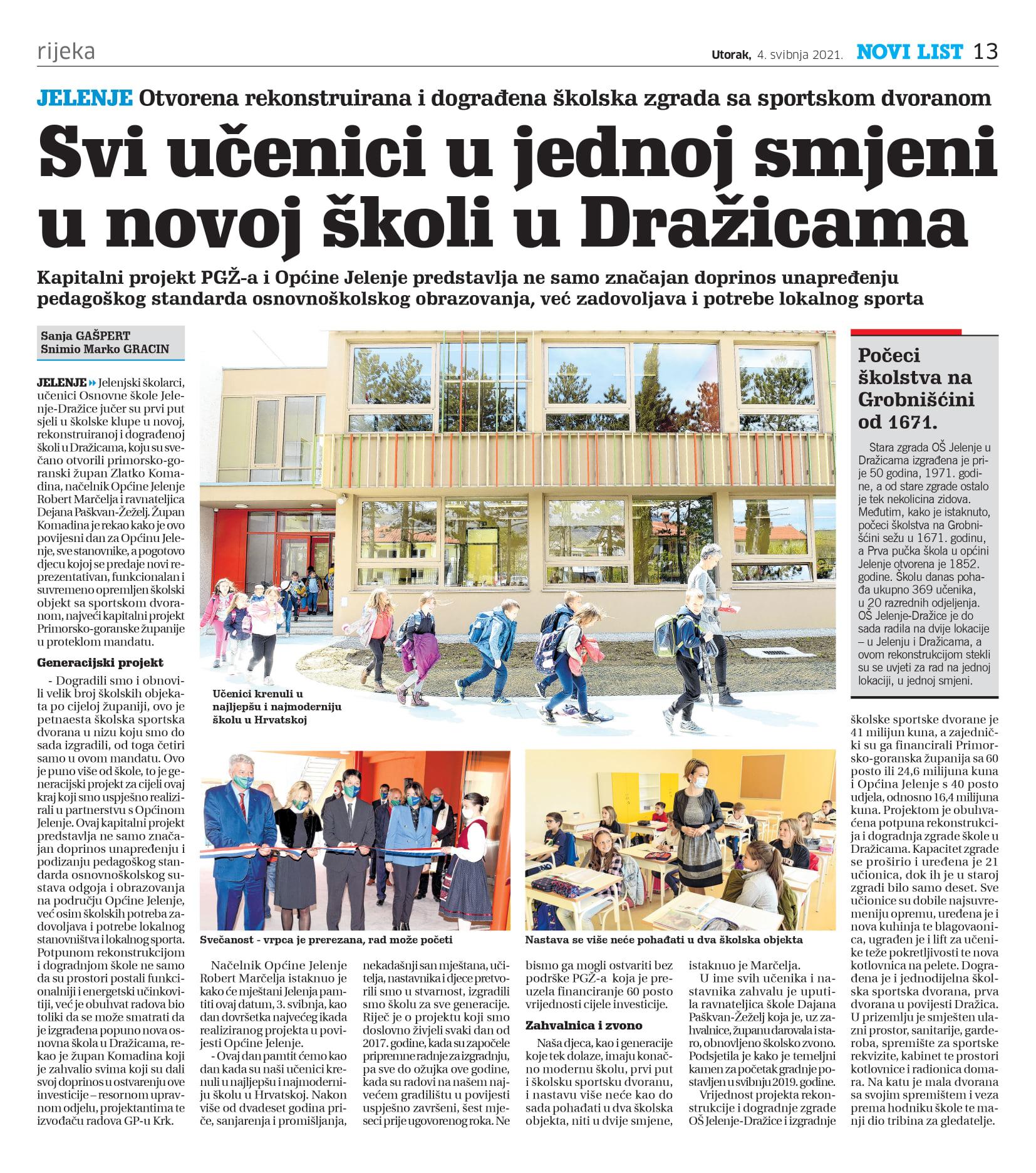 Povijesni dan za naše Jelenje: Jelenjski školarci prvi put u novoj školi